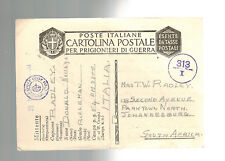 1943 Italy Prisoner of War POW Camp 54 Censored Cover to South AFrica D Radley