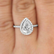 1.72CT Pear-Cut Diamond Halo Engagement Ring D/VVS1 925 Sterling Silver