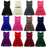 Womens Ladies Girls Sleeveless Dresses Flared Belted Skater Dress Party Top Vest