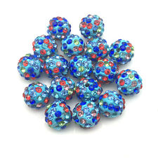 20Pcs Blue Mix Micro Pave Clay Crystal Disco Spacer Shamballa Beads For Bracelet
