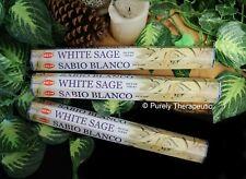 WHITE SAGE INCENSE STICKS~Hem Hexagonal Pack of 20 Sticks x3 Wicca Smudge Pagan