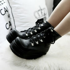 Buckle Gothic Women's Platform Wedges Heels Lace Up Motorcycle Ankle Boot