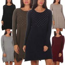11395 Damen Feinstrick Kleid Strickkleid Langarm Minikleid Nietenbesatz Rundhals