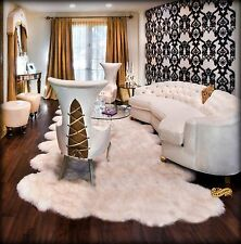 FUR ACCENTS White Shag Carpet Scallop Faux Sheepskin Area Throw Rug Living Rm