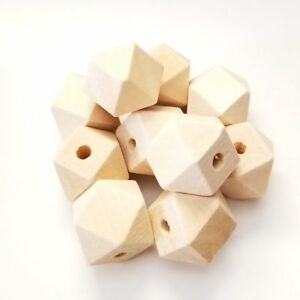 faceted cube wood beads Natural hand cut 20x20mm