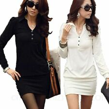 Cotton Blend Casual Solid Shirt Dresses