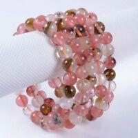 8mm Multi-color Watermelon Tourmaline Round Gems Beads Elastic Bracelet 7.5''