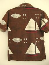 Rare Vintage 60's Surf King Emma C Berry Fishing Sloop Hawaiian Style S/M Shirt