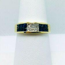Wow! 1.25ct Genuine Sapphire Diamond 18k Gold Ring Nice! (7087)