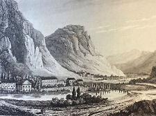 Therme d' USSAT ( Ossat ) gravure vers 1850 XIXe Bouches du Rhone Tarascon