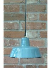 """Fab Blue 1950's Thick 10"""" Enamel Vintage Industrial Pendant Lamp/Light REWIRED"""