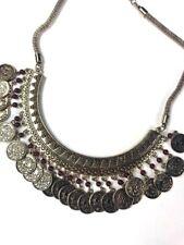 Bollywood Coins Bib Necklace Ethnic Tribal Boho Gypsy Gold Tone Bohemian EUC