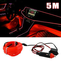 5M 12V Red LED Car Cold Light Strip Auto Interior Atmosphere Lamps Accessories