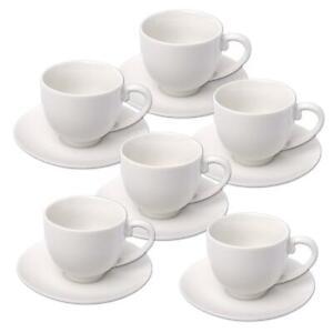 6er-Packung Espressotassen mit Untertasse Weiß
