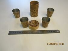 Glasses of birch bark. 4 piece with case. For vodka and whiskey.