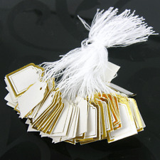 100 White SWING TAGS GOLD EDGE SQUARE Jewellery Pricing 22 x 19mm