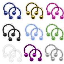 2er Set Stahl Barbell Hufeisen Lippenpiercing Ohr Helix 9 Farben in 3 Größen