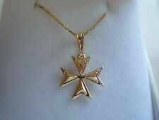"new yellow gold box chain 18"" with a maltese cross knight of malta pendant"