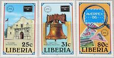 LIBERIA 1986 1349-51 1043-45 AMERIPEX 86 Stamp on Stamp Architecture MNH