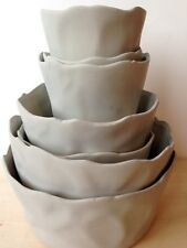 Set of 7 Grey/ taupe contemporary sculptural ceramic nesting ruffled cachepots