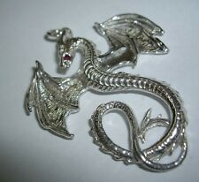 Hallmarked Sterling Silver Ruby Mythical Winged Fantasy Dragon Pendant UK