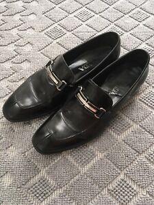 PRADA Mens Black Leather Dress Slip On Formal Heel Shoes Size 7 Loafers