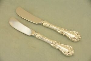 """2 Reed & Barton Burgundy Sterling 6-1/4"""" HH Butter Spreader Paddle Knife No Mono"""