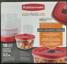 Rubbermaid Easy Find Lids Red 18 Piece Set Includes 3 Vented Lids Containers New