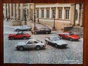NICE ORIGINAL PORSCHE 911SC 928 924 DEALER 6-FOLD COLOR POSTER BROCHURE 1980