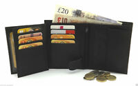 RFID Soft Real Leather Wallet With Zip Pocket, Coin Pouch & ID Window 503 Black