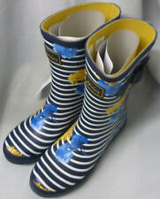 Joules Molly Welly Navy Lily Stripe Wellingtons Wellies Festival Ladies New Sz 3