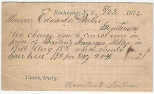 1874 Rochester New York Hamilton & Mathews Hardware Dealers Mailing Card