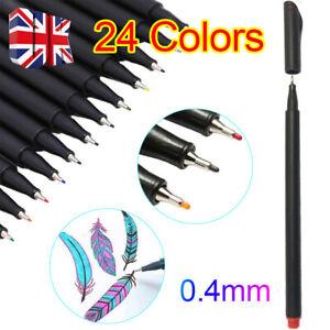 24Colour Acrylic Paint Marker Pens Extra Fine Tip Rock Permanent Posca Metal Pen