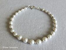 Graduated White Swarovski Pearls & Sterling Silver Handmade Bridal Bracelet