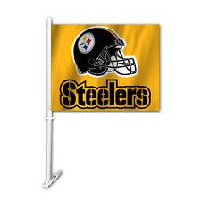 NFL NWT CAR WINDOW FLAG PITTSBURGH STEELERS HELMET ON GOLD