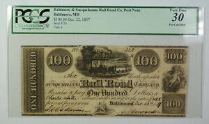 Dec 22 1837 $100 Obsolete Currency Baltimore Susquehanna Rail Road Co PCGS VF-30