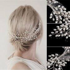 Bridal Wedding Girls Tiara Headdress Faux Pearl Headband Hair Comb Jewelry Party