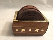 Handcrafted Wooden Carved Brass Inlay Case Decorative Set of 6 Coasters