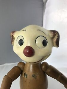 """11"""" Antique Composition And Wood Pete The Pup!  Very Rare Model!!"""
