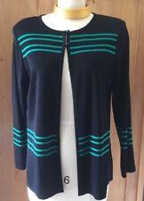 MISOOK Black Cardigan with Kelly Green Stripes Size Medium Petite MINT!