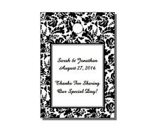 64 Personalized Floral Damask Wedding Rectangle Gift Hang Tags 1.75x2.5""