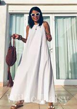 ZARA NEW WHITE MAXI SWING DRESS FLOUNCE SLEEVELESS FLOWING POCKETS SIZE XS-XXL