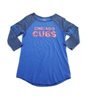 Chicago Cubs Blue Shirt Size Medium Raglan 3/4 Sleeve Tee T-Shirt 5th & Ocean