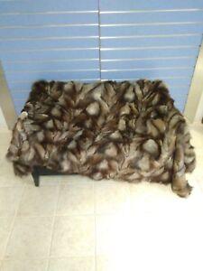 Luxury Crustal Fox Fur Throw Genuine Real Fox Fur Blanket / Bedspread