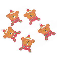30PCs New Christmas Bear Shaped 2 Holes Wooden Buttons Sewing DIY Scrapbooking