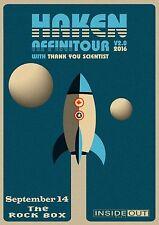 "HAKEN / THANK YOU SCIENTIST ""AFFINITOUR v2.0 2016"" SAN ANTONIO CONCERT POSTER"