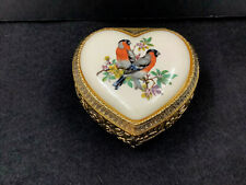 Mele Inlaid Porcelain Jewelry Trinket Box Heart Shaped Footed Brass Painted Bird