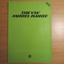 VW VOLKSWAGEN Polo Golf Passat Saloon Estate Scirocco Beetle Range Brochure 1978