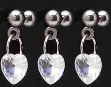 "Dangle Ear Tragus Ring 16g 1/4"" Bar 583 1) Single Fancy Cz Gem Clear Heart Chain"