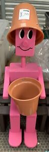 Handmade Flower Pot Man Wooden Garden Figure Plant Holder Ornament - Pink